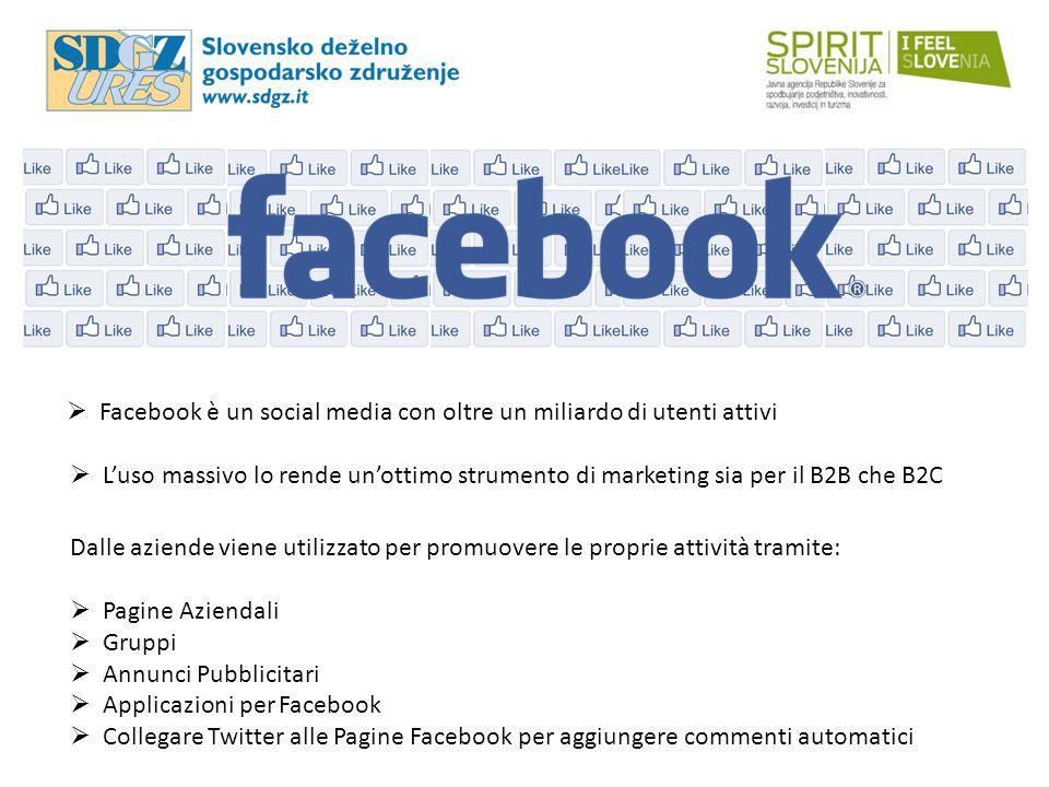 Facebook è un social media con oltre un miliardo di utenti attivi  L'uso massivo lo rende un'ottimo strumento di marketing sia per il B2B che B2C D