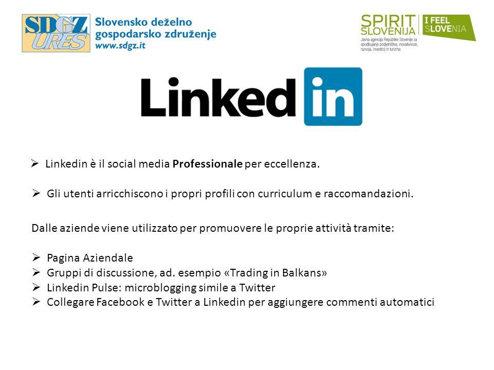  Linkedin è il social media Professionale per eccellenza.  Gli utenti arricchiscono i propri profili con curriculum e raccomandazioni. Dalle aziende