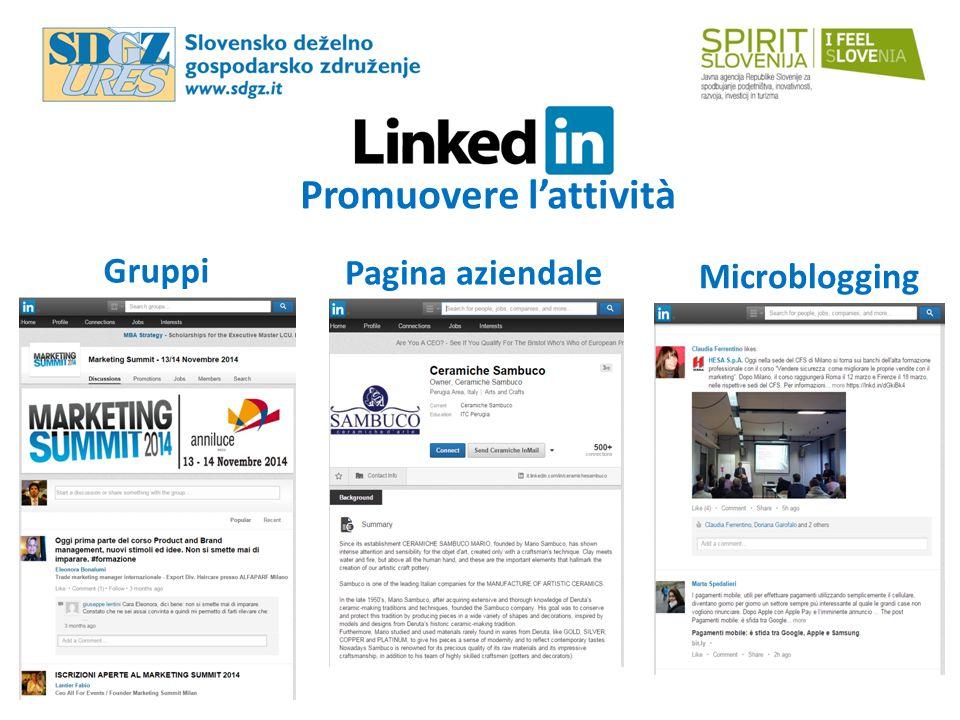 Promuovere l'attività Gruppi Pagina aziendale Microblogging