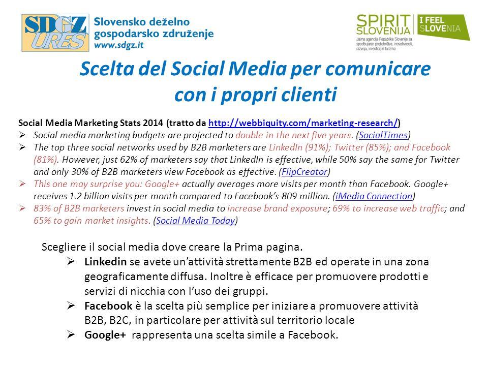 Scelta del Social Media per comunicare con i propri clienti Scegliere il social media dove creare la Prima pagina.  Linkedin se avete un'attività str