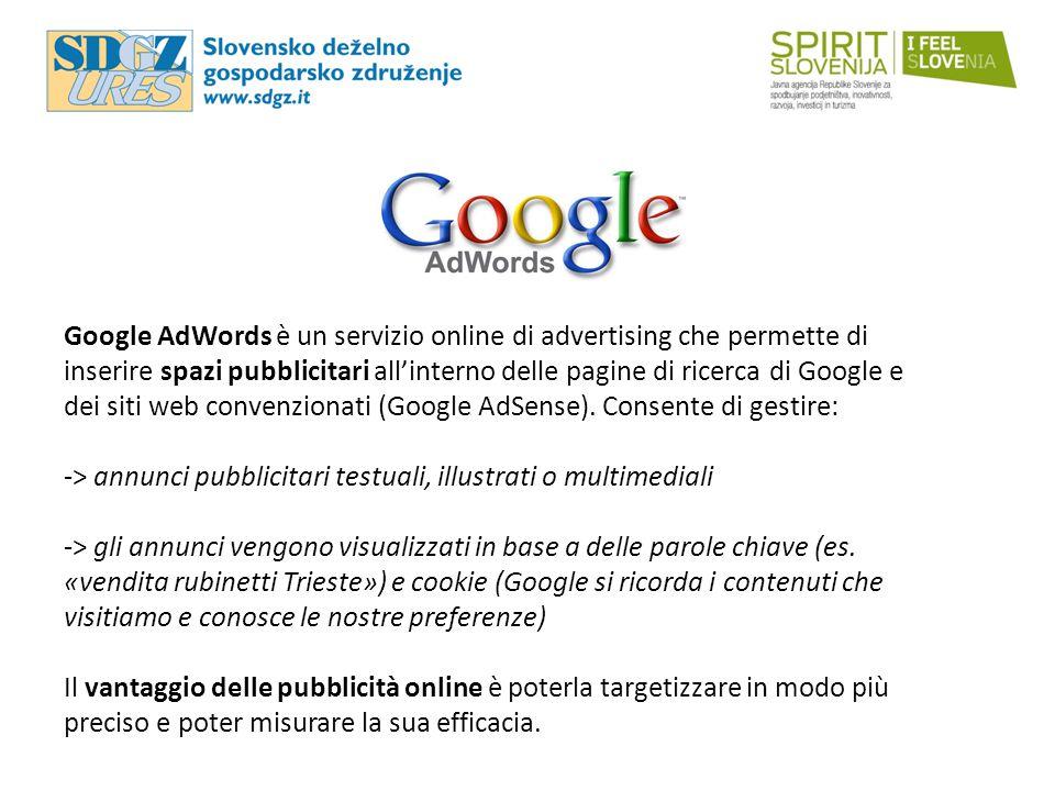 Google AdWords è un servizio online di advertising che permette di inserire spazi pubblicitari all'interno delle pagine di ricerca di Google e dei siti web convenzionati (Google AdSense).