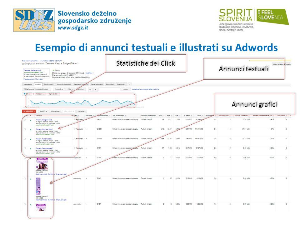 Esempio di annunci testuali e illustrati su Adwords Annunci testuali Annunci grafici Statistiche dei Click