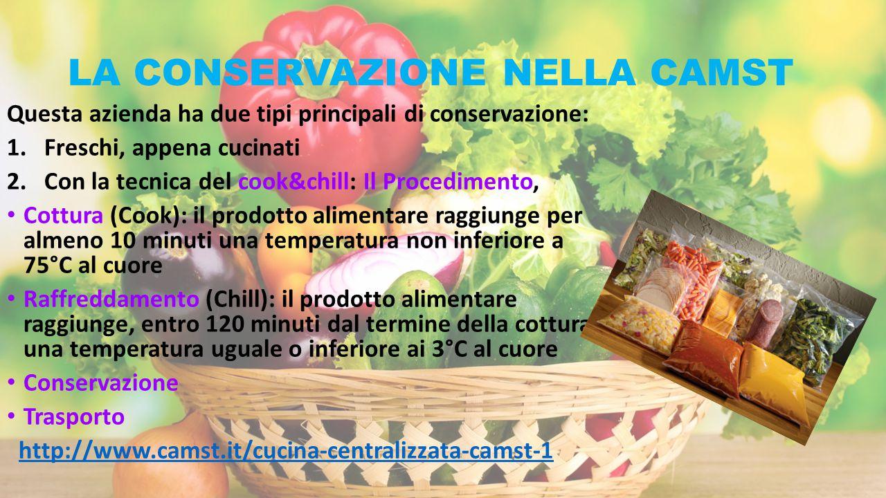 LA CONSERVAZIONE NELLA CAMST Questa azienda ha due tipi principali di conservazione: 1.Freschi, appena cucinati 2.Con la tecnica del cook&chill: Il Pr