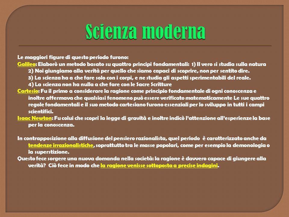 Le maggiori figure di questo periodo furono: Galileo: Elaborò un metodo basato su quattro principi fondamentali: 1) Il vero si studia sulla natura 2)