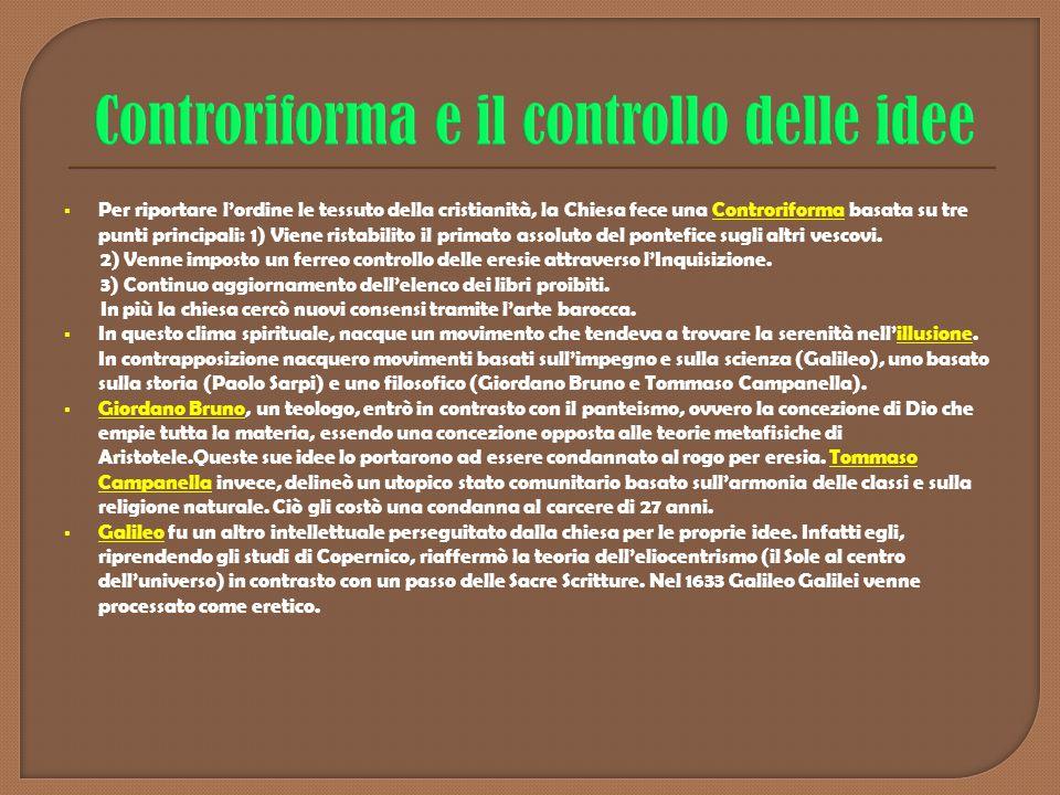  Per riportare l'ordine le tessuto della cristianità, la Chiesa fece una Controriforma basata su tre punti principali: 1) Viene ristabilito il primat