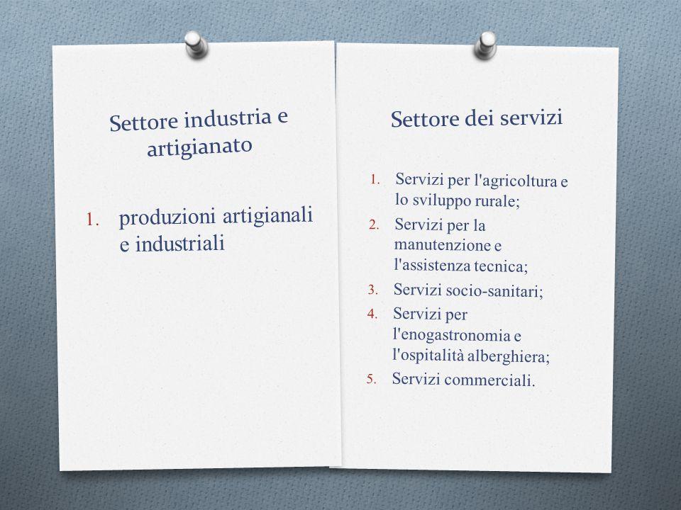 Settore dei servizi 1. Servizi per l'agricoltura e lo sviluppo rurale; 2. Servizi per la manutenzione e l'assistenza tecnica; 3. Servizi socio-sanitar