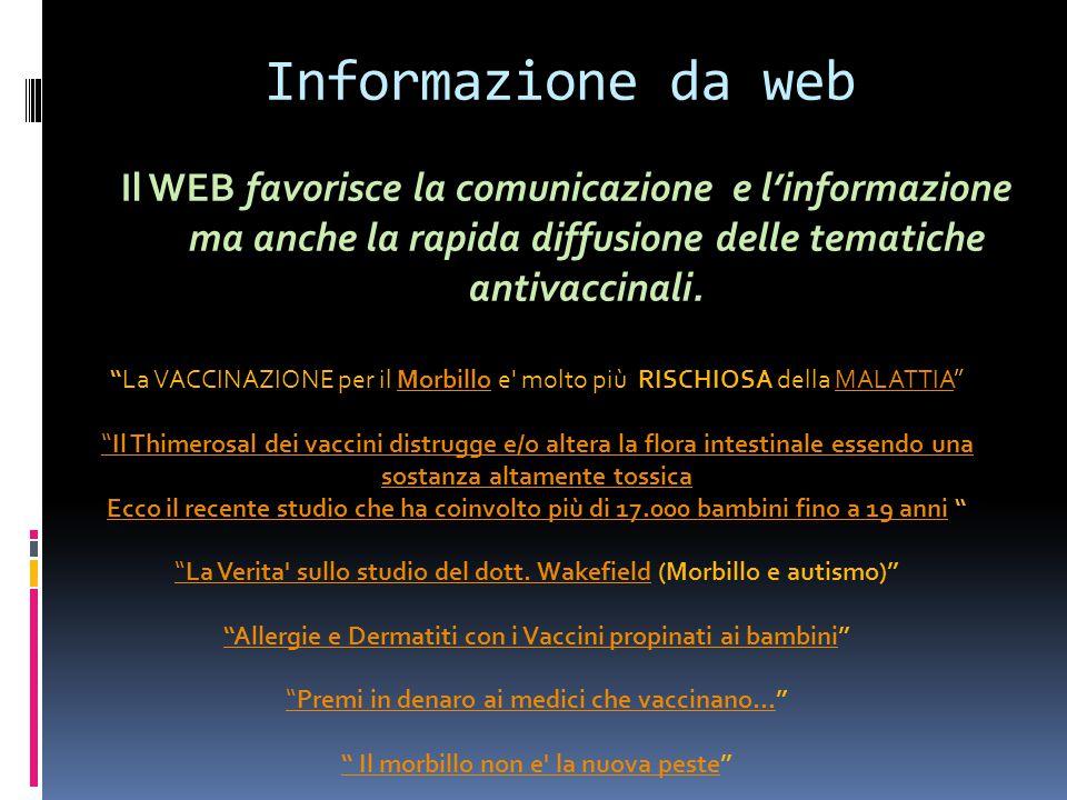 """Informazione da web Il WEB favorisce la comunicazione e l'informazione ma anche la rapida diffusione delle tematiche antivaccinali. """"La VACCINAZIONE p"""