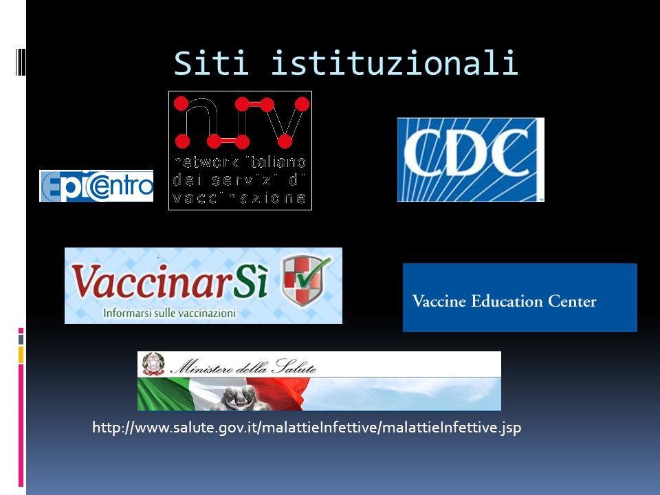 http://www.salute.gov.it/malattieInfettive/malattieInfettive.jsp Siti istituzionali