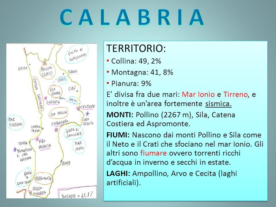 TERRITORIO: Collina: 49, 2% Montagna: 41, 8% Pianura: 9% E' divisa fra due mari: Mar Ionio e Tirreno, e inoltre è un'area fortemente sismica. MONTI: P