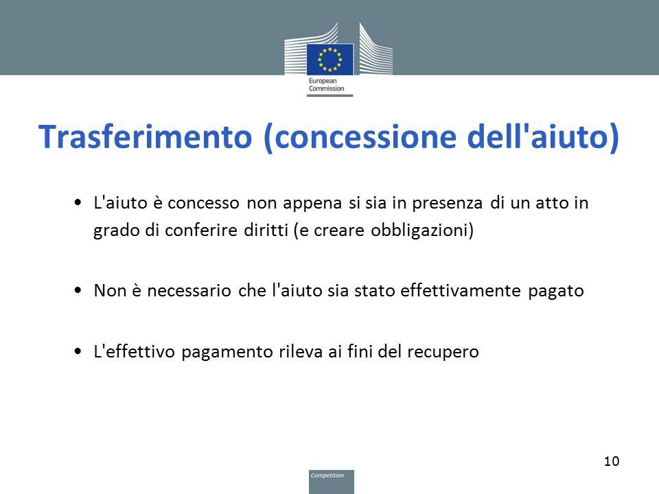 Trasferimento (concessione dell'aiuto) L'aiuto è concesso non appena si sia in presenza di un atto in grado di conferire diritti (e creare obbligazion