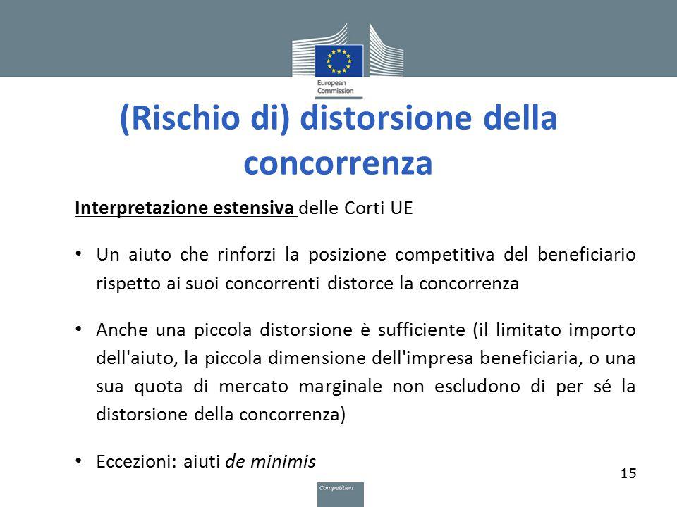 (Rischio di) distorsione della concorrenza Interpretazione estensiva delle Corti UE Un aiuto che rinforzi la posizione competitiva del beneficiario ri