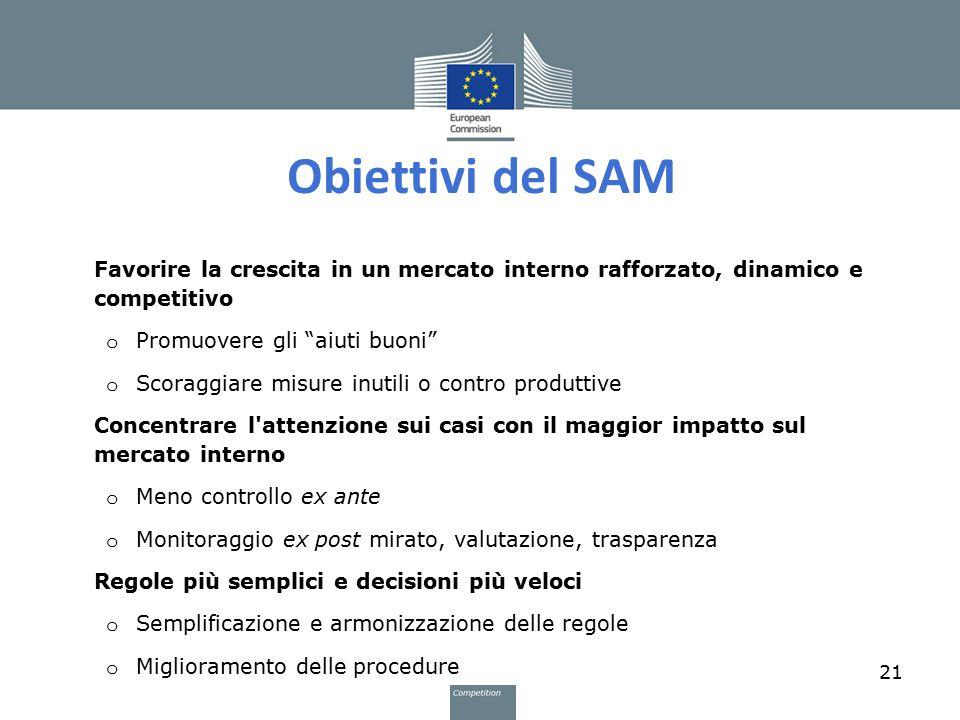 """Obiettivi del SAM Favorire la crescita in un mercato interno rafforzato, dinamico e competitivo o Promuovere gli """"aiuti buoni"""" o Scoraggiare misure in"""
