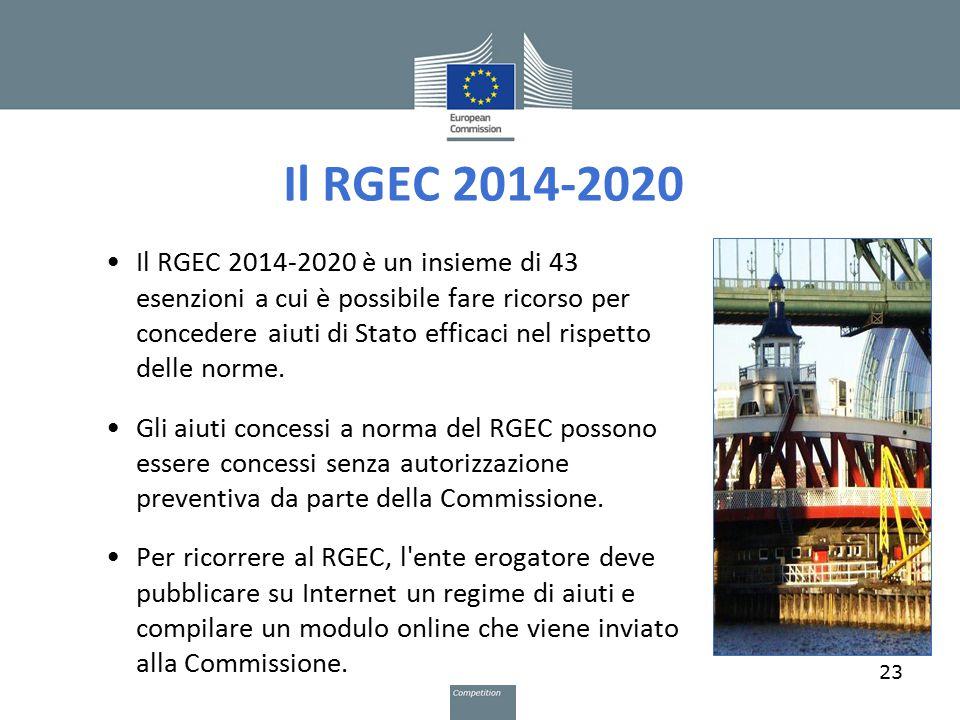 Il RGEC 2014-2020 Il RGEC 2014-2020 è un insieme di 43 esenzioni a cui è possibile fare ricorso per concedere aiuti di Stato efficaci nel rispetto del