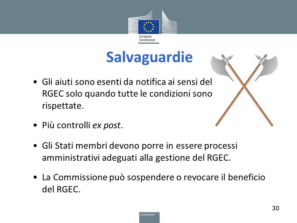 Salvaguardie 30 Gli aiuti sono esenti da notifica ai sensi del RGEC solo quando tutte le condizioni sono rispettate. Più controlli ex post. Gli Stati