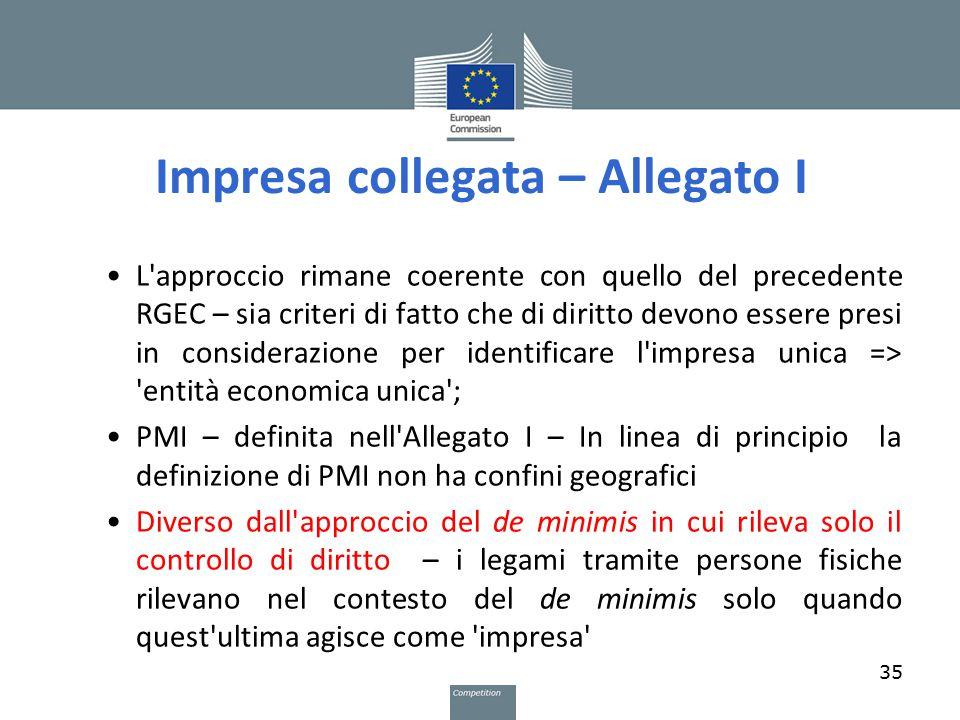 Impresa collegata – Allegato I L'approccio rimane coerente con quello del precedente RGEC – sia criteri di fatto che di diritto devono essere presi in