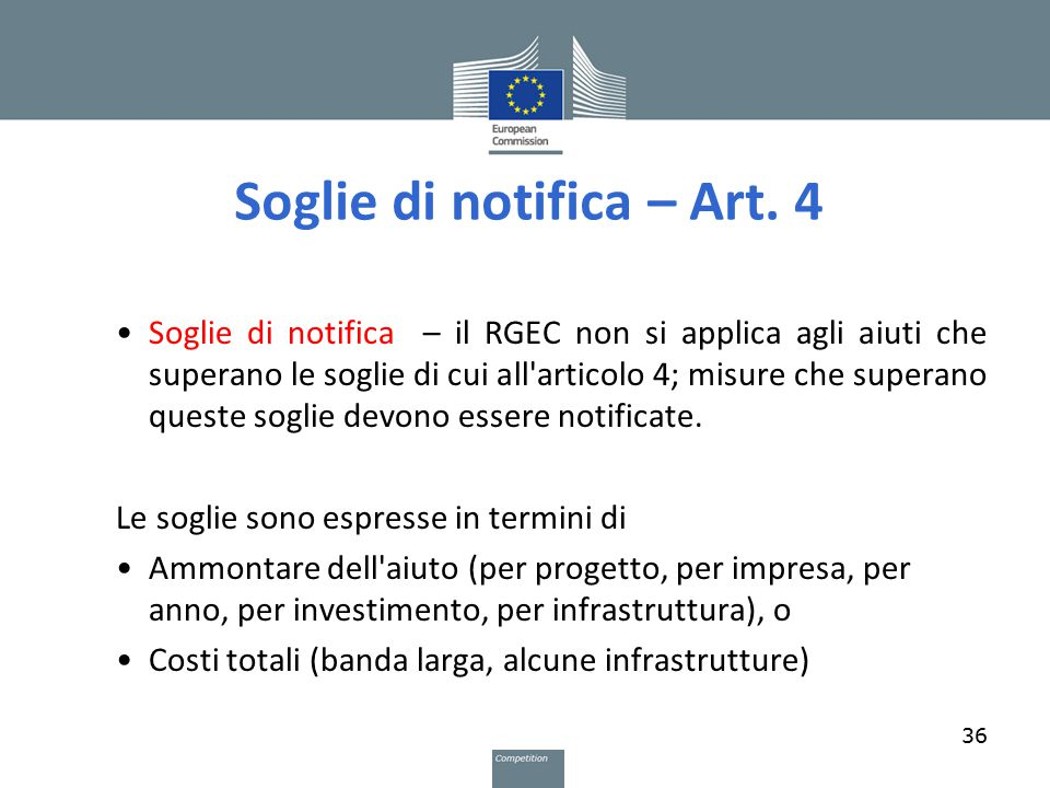 Soglie di notifica – Art.