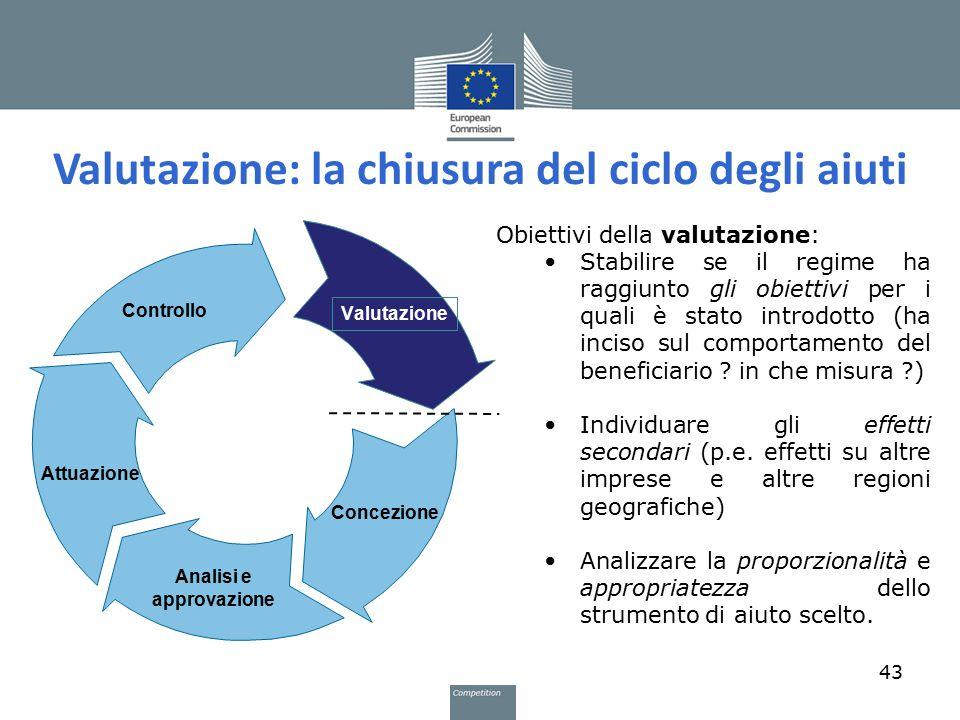 Valutazione: la chiusura del ciclo degli aiuti 43 Obiettivi della valutazione: Stabilire se il regime ha raggiunto gli obiettivi per i quali è stato i
