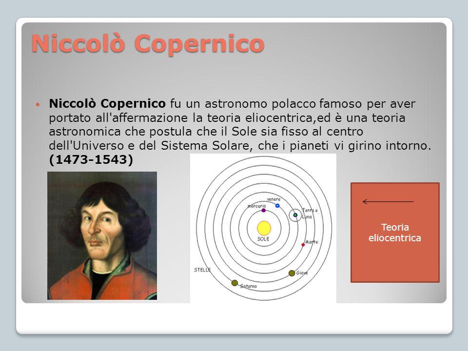 Niccolò Copernico Niccolò Copernico fu un astronomo polacco famoso per aver portato all'affermazione la teoria eliocentrica,ed è una teoria astronomic