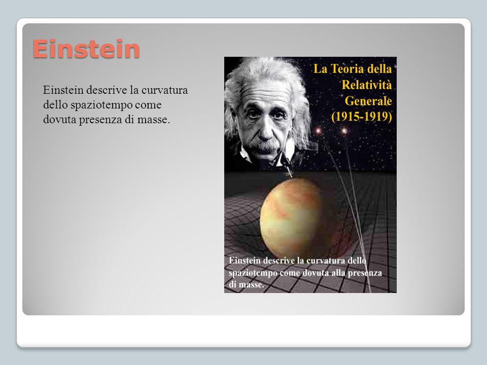 Einstein Einstein descrive la curvatura dello spaziotempo come dovuta presenza di masse.