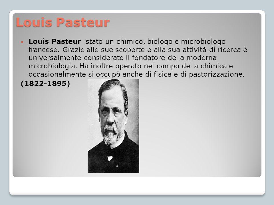 Louis Pasteur Louis Pasteur stato un chimico, biologo e microbiologo francese. Grazie alle sue scoperte e alla sua attività di ricerca è universalment