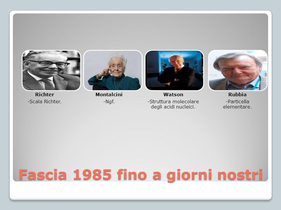 Fascia 1985 fino a giorni nostri Richter -Scala Richter. Montalcini -Ngf. Watson -Struttura molecolare degli acidi nucleici. Rubbia -Particella elemen