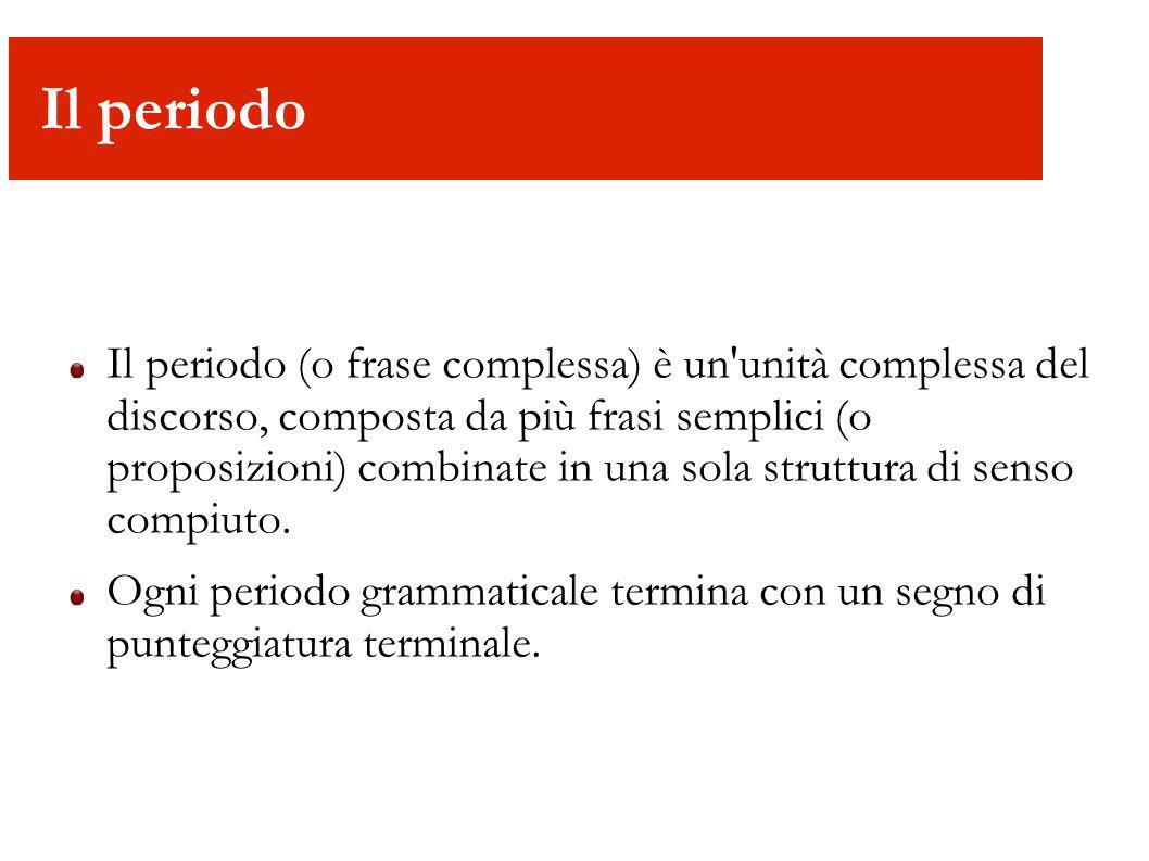 Il periodo Il periodo (o frase complessa) è un'unità complessa del discorso, composta da più frasi semplici (o proposizioni) combinate in una sola str