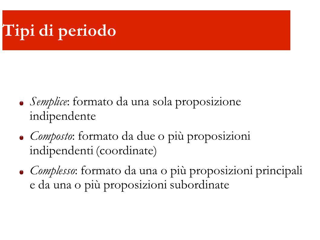 Tipi di periodo Semplice: formato da una sola proposizione indipendente Composto: formato da due o più proposizioni indipendenti (coordinate) Complesso: formato da una o più proposizioni principali e da una o più proposizioni subordinate