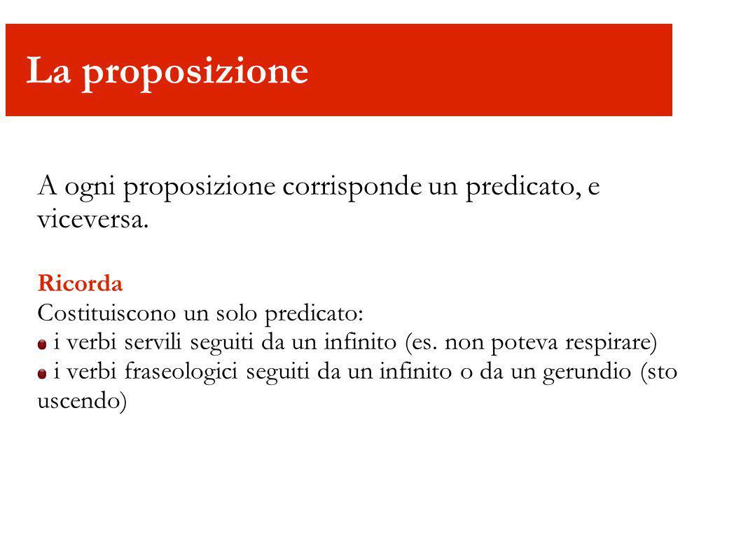 È l unica proposizione grammaticalmente indipendente, cioè non dipendente da altre proposizioni.