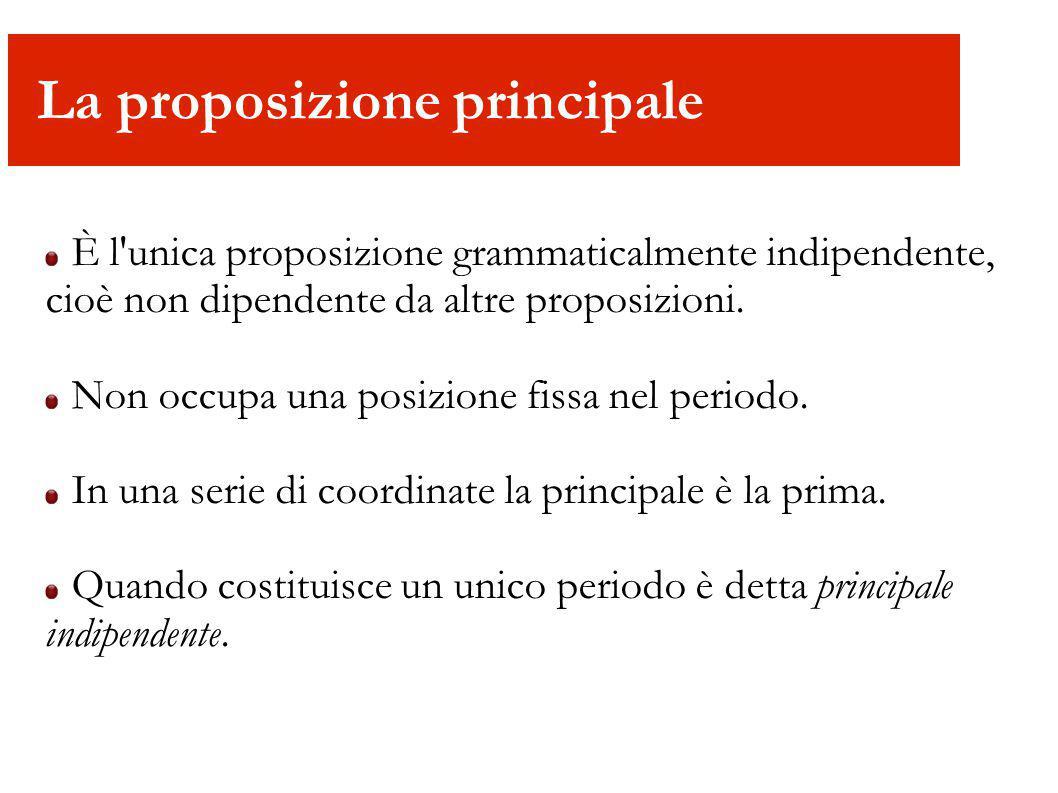 È l'unica proposizione grammaticalmente indipendente, cioè non dipendente da altre proposizioni. Non occupa una posizione fissa nel periodo. In una se