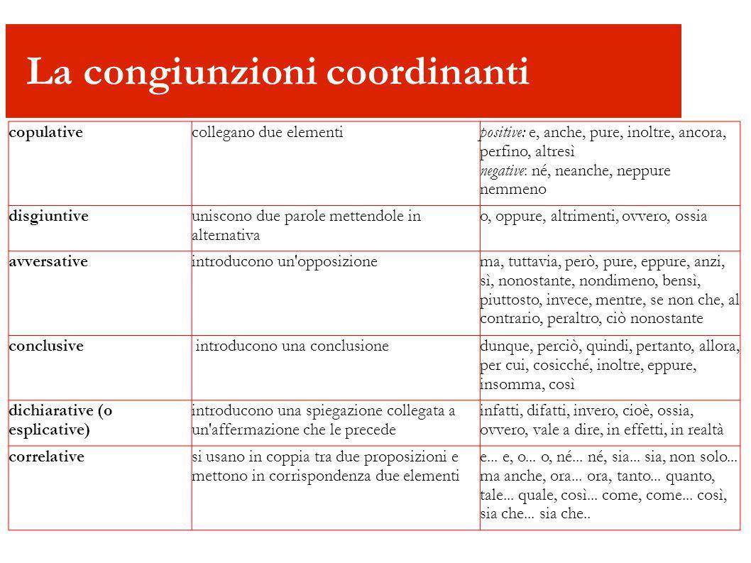 La congiunzioni coordinanti copulativecollegano due elementi positive: e, anche, pure, inoltre, ancora, perfino, altresì negative: né, neanche, neppur