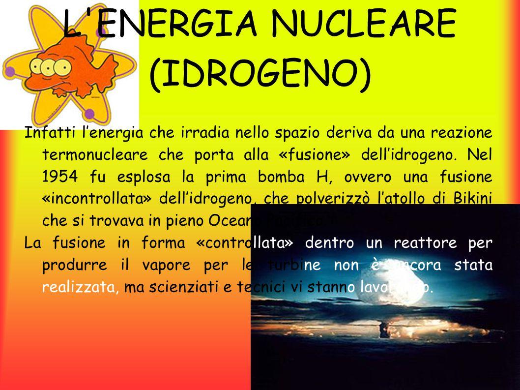 L ENERGIA NUCLEARE (IDROGENO) IL REATTORE A FUSIONE: Fino a oggi sono stati costruiti alcuni reattori sperimentali per la fusione nucleare, come l'inglese ZETA, il russo Tokamak, il JET.