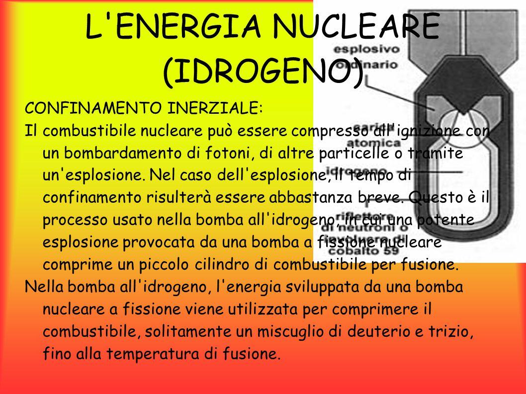 L ENERGIA NUCLEARE (IDROGENO) L esplosione della bomba a fissione genera una serie di raggi X che creano un onda termica che propagandosi nella testata comprime e riscalda il deuterio e il trizio generando la fusione nucleare.