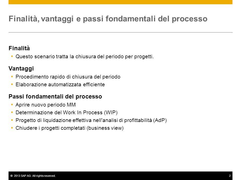 ©2013 SAP AG. All rights reserved.2 Finalità, vantaggi e passi fondamentali del processo Finalità  Questo scenario tratta la chiusura del periodo per
