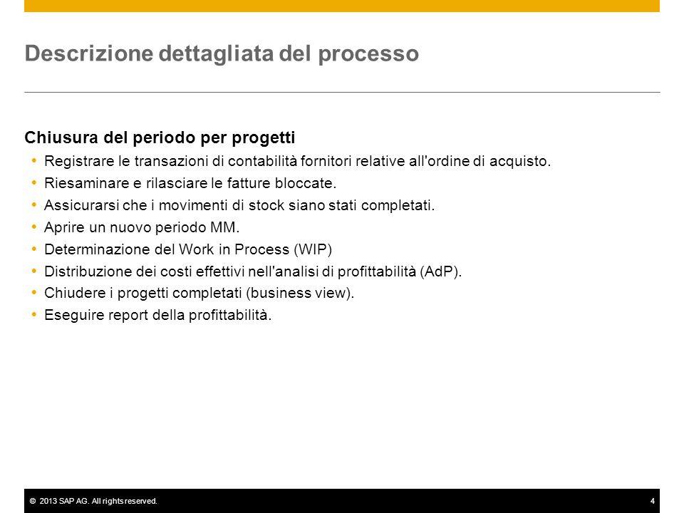 ©2013 SAP AG. All rights reserved.4 Descrizione dettagliata del processo Chiusura del periodo per progetti  Registrare le transazioni di contabilità