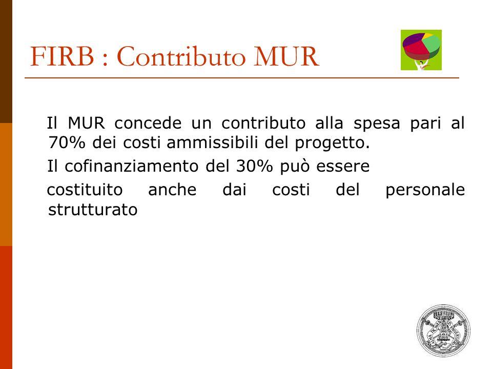 FIRB : Contributo MUR Il MUR concede un contributo alla spesa pari al 70% dei costi ammissibili del progetto. Il cofinanziamento del 30% può essere co