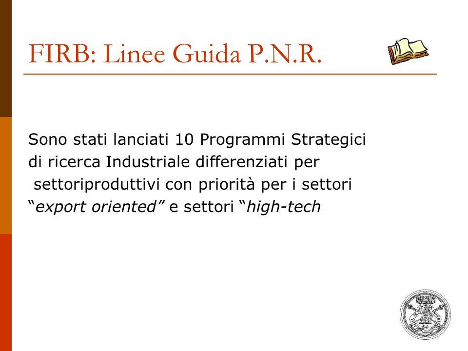 FIRB: Linee Guida P.N.R. Sono stati lanciati 10 Programmi Strategici di ricerca Industriale differenziati per settoriproduttivi con priorità per i set