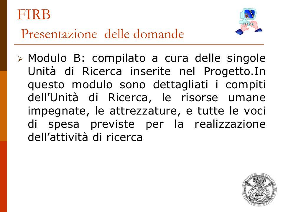 FIRB Presentazione delle domande  Modulo B: compilato a cura delle singole Unità di Ricerca inserite nel Progetto.In questo modulo sono dettagliati i