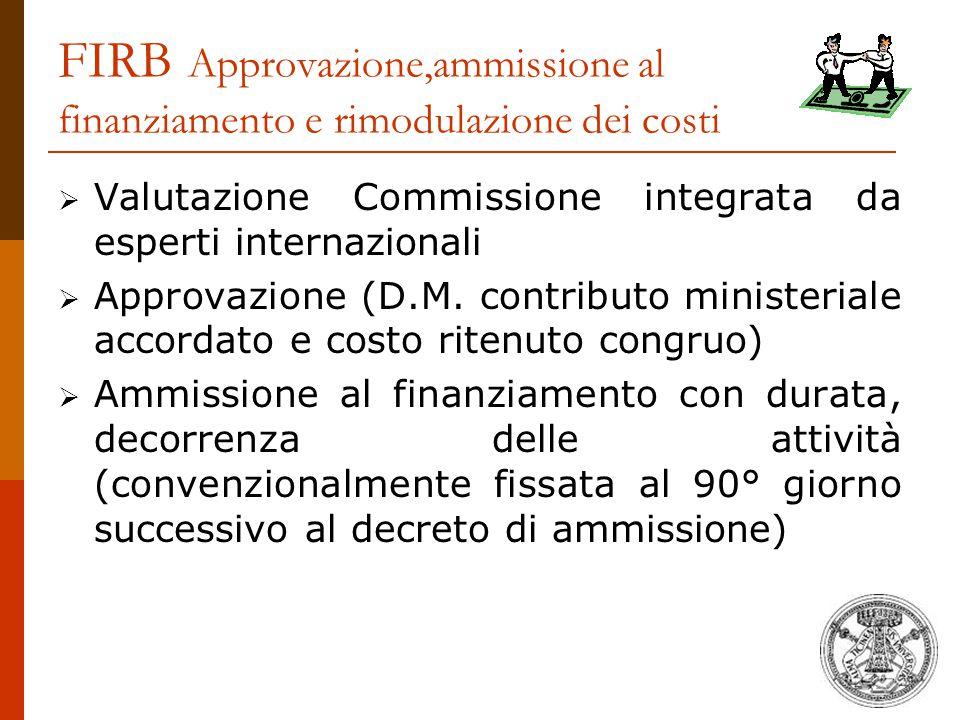 FIRB Approvazione,ammissione al finanziamento e rimodulazione dei costi  Valutazione Commissione integrata da esperti internazionali  Approvazione (