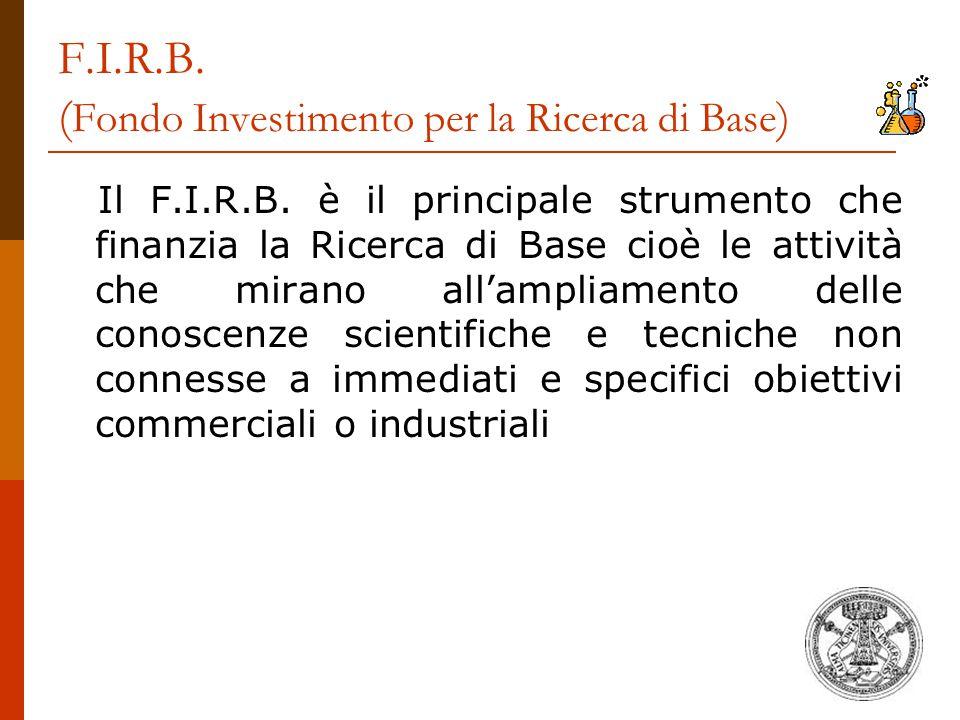 F.I.R.B. ( Fondo Investimento per la Ricerca di Base ) Il F.I.R.B. è il principale strumento che finanzia la Ricerca di Base cioè le attività che mira