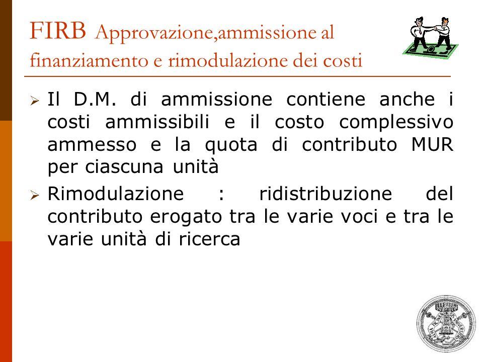 FIRB Approvazione,ammissione al finanziamento e rimodulazione dei costi  Il D.M. di ammissione contiene anche i costi ammissibili e il costo compless