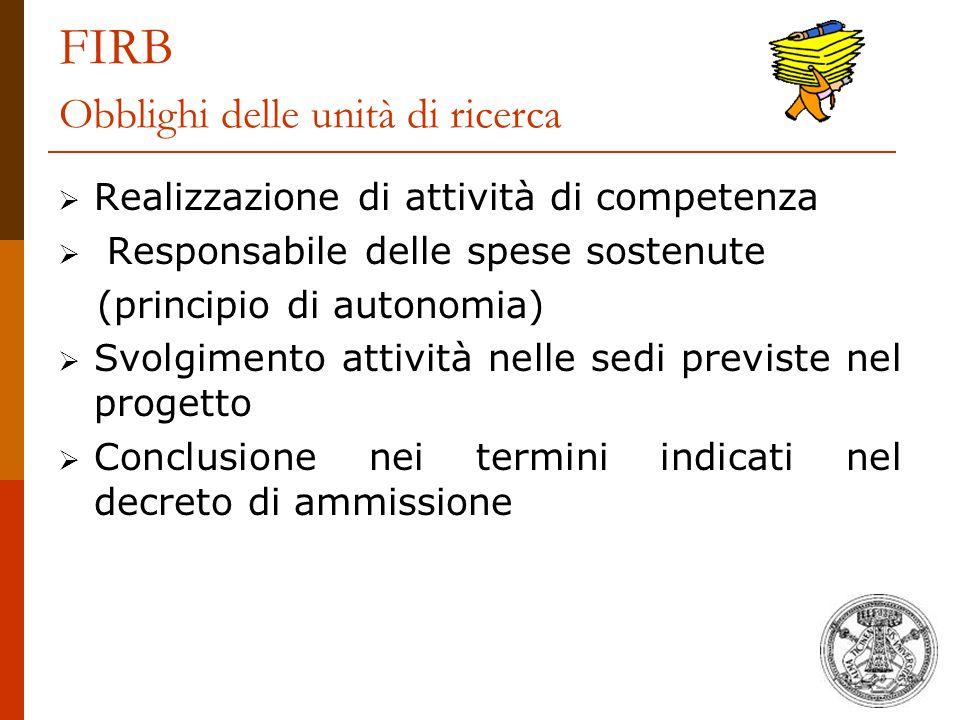 FIRB Obblighi delle unità di ricerca  Realizzazione di attività di competenza  Responsabile delle spese sostenute (principio di autonomia)  Svolgim