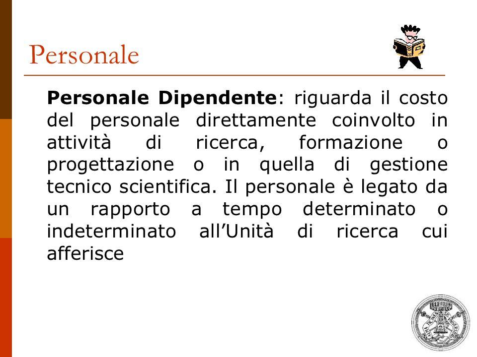 Personale Personale Dipendente: riguarda il costo del personale direttamente coinvolto in attività di ricerca, formazione o progettazione o in quella