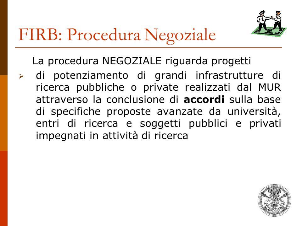 FIRB: Procedura Negoziale La procedura NEGOZIALE riguarda progetti  di potenziamento di grandi infrastrutture di ricerca pubbliche o private realizza