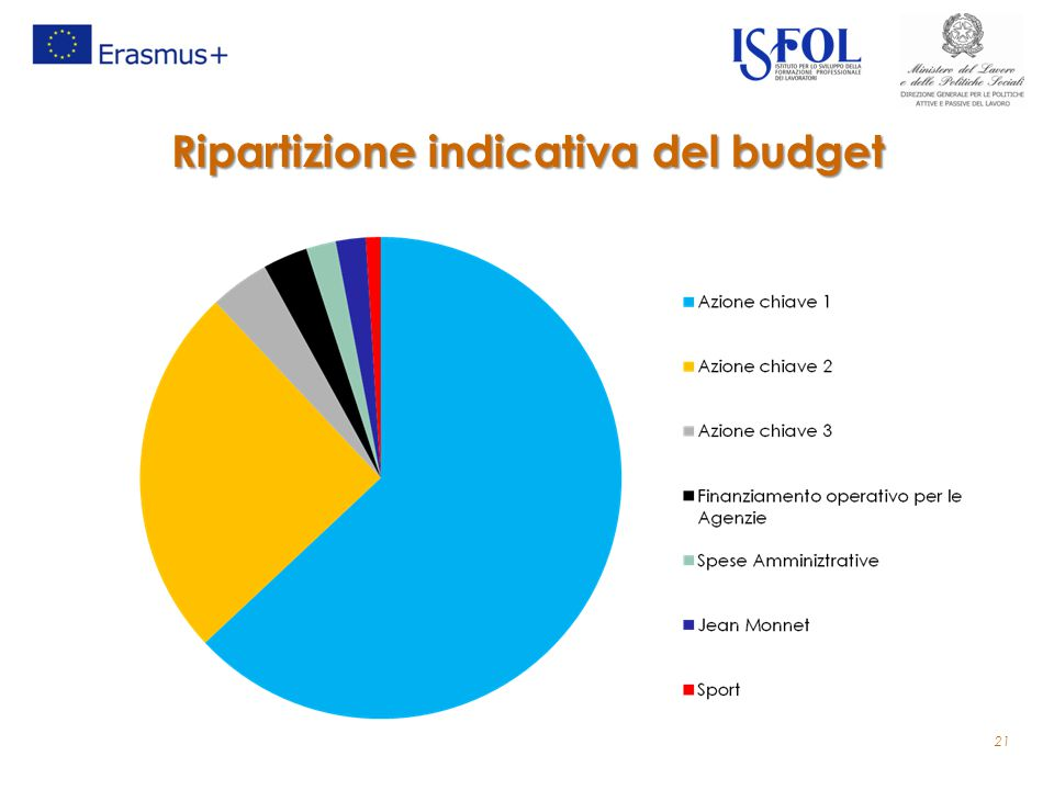 Ripartizione indicativa del budget 21