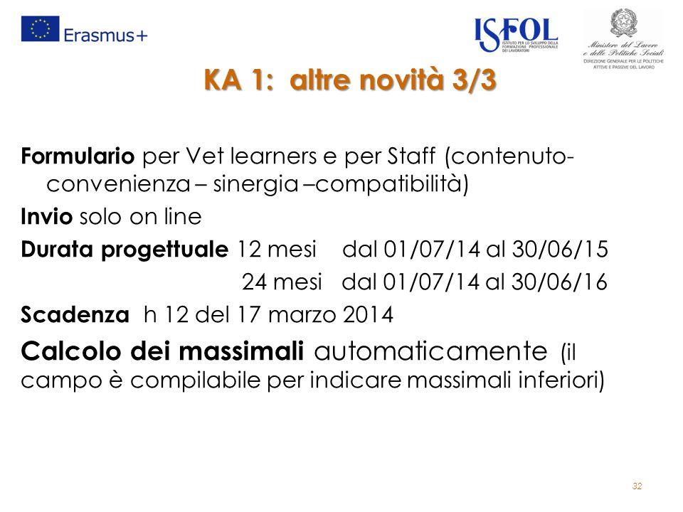 32 KA 1: altre novità 3/3 Formulario per Vet learners e per Staff (contenuto- convenienza – sinergia –compatibilità) Invio solo on line Durata progettuale 12 mesi dal 01/07/14 al 30/06/15 24 mesi dal 01/07/14 al 30/06/16 Scadenza h 12 del 17 marzo 2014 Calcolo dei massimali automaticamente (il campo è compilabile per indicare massimali inferiori)