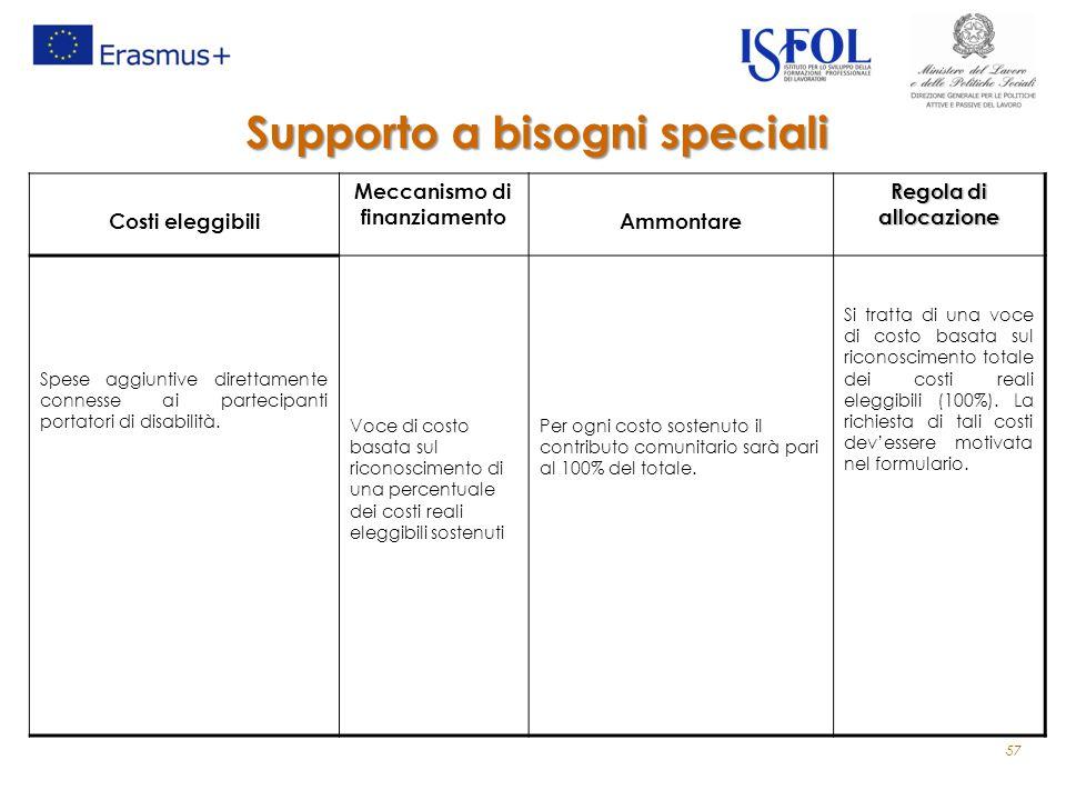 Costi eleggibili Meccanismo di finanziamento Ammontare Regola di allocazione Spese aggiuntive direttamente connesse ai partecipanti portatori di disabilità.