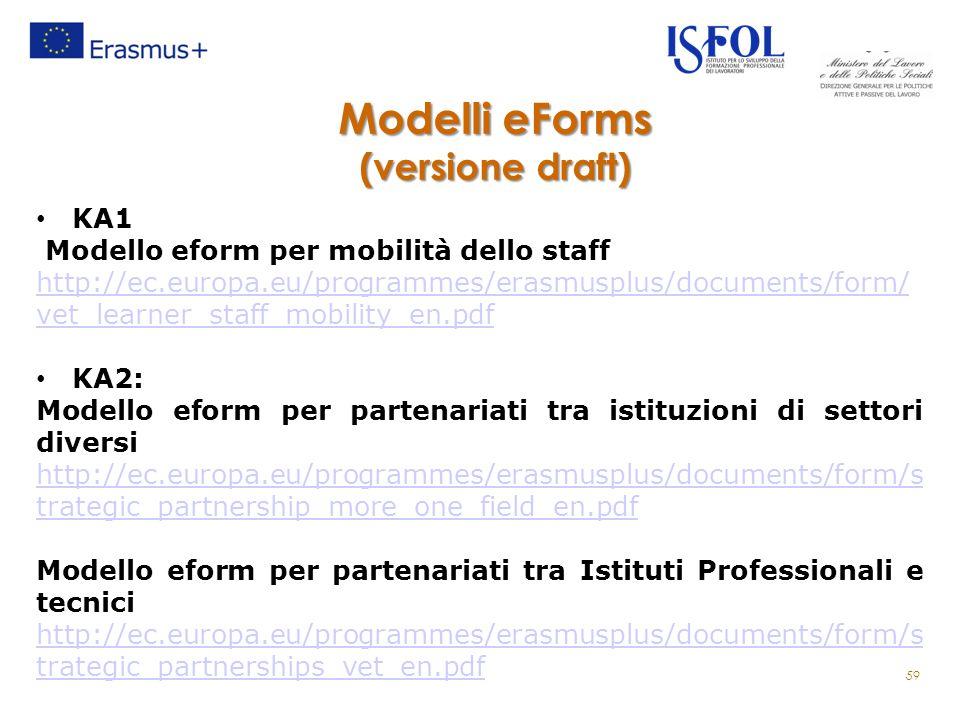 Modelli eForms (versione draft) KA1 Modello eform per mobilità dello staff http://ec.europa.eu/programmes/erasmusplus/documents/form/ vet_learner_staff_mobility_en.pdf KA2: Modello eform per partenariati tra istituzioni di settori diversi http://ec.europa.eu/programmes/erasmusplus/documents/form/s trategic_partnership_more_one_field_en.pdf Modello eform per partenariati tra Istituti Professionali e tecnici http://ec.europa.eu/programmes/erasmusplus/documents/form/s trategic_partnerships_vet_en.pdf 59