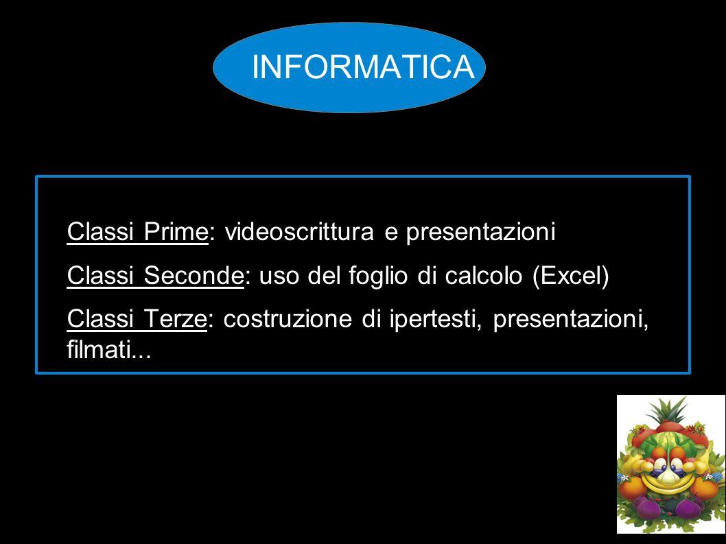INFORMATICA Classi Prime: videoscrittura e presentazioni Classi Seconde: uso del foglio di calcolo (Excel) Classi Terze: costruzione di ipertesti, pr