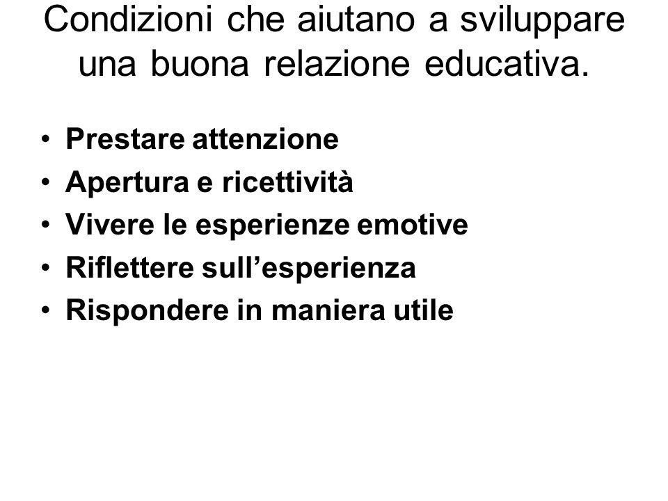 Condizioni che aiutano a sviluppare una buona relazione educativa. Prestare attenzione Apertura e ricettività Vivere le esperienze emotive Riflettere
