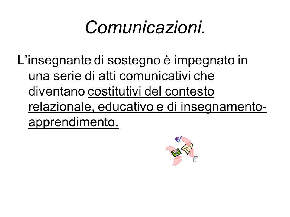 Comunicazioni. L'insegnante di sostegno è impegnato in una serie di atti comunicativi che diventano costitutivi del contesto relazionale, educativo e